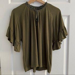 J. CREW Flowy Tie Blouse Olive Green Size XS